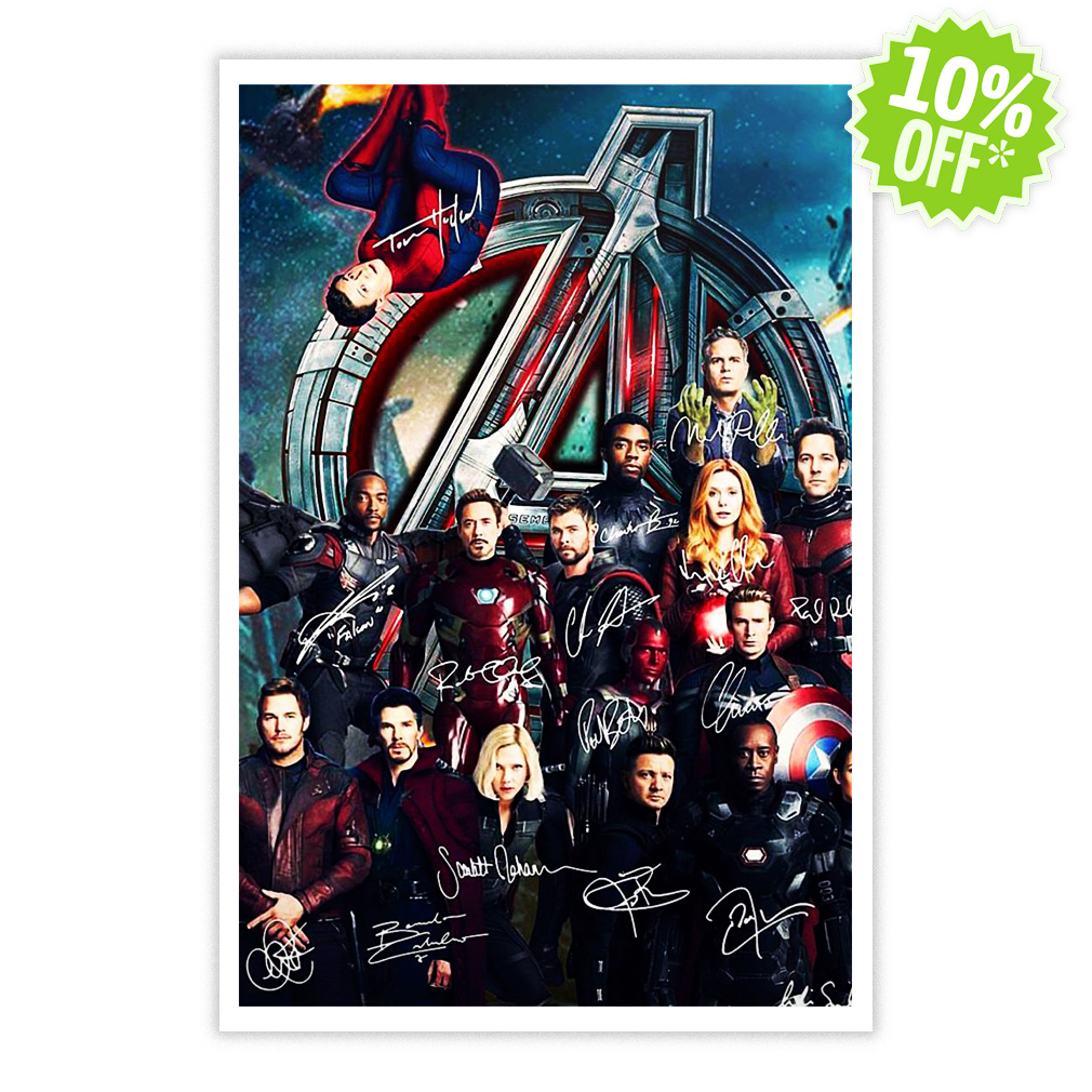 All Marvel heroes Avengers Infinity War Signature poster