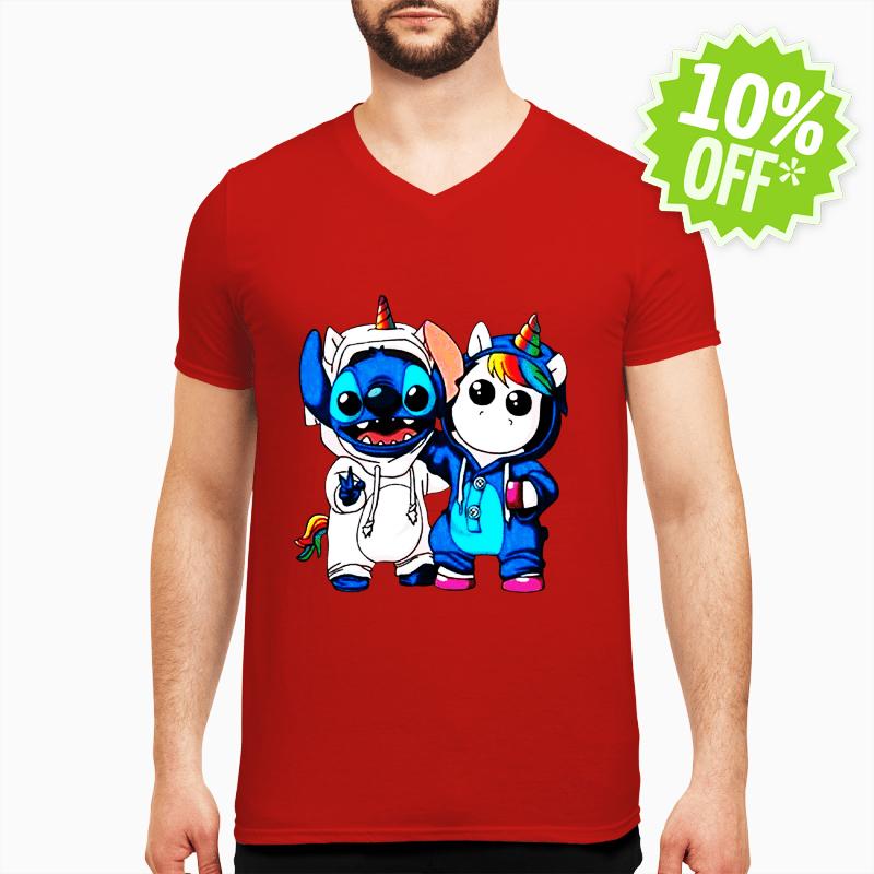 Baby Stitch and Unicorn v-neck