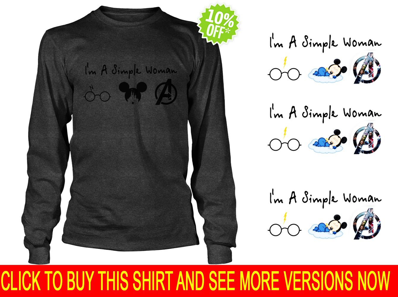 A simple woman who love Harry Potter Disney and Avengers long sleeve tee