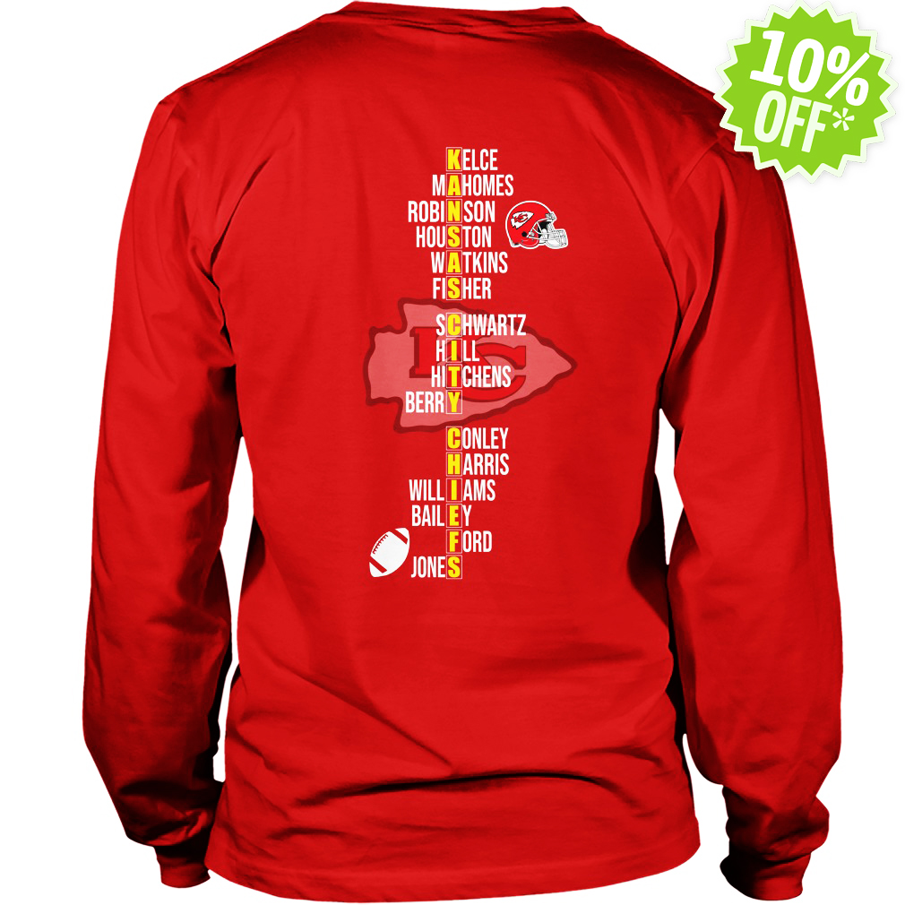 AFC West Division Champions 2018 Kansas City Chiefs Team Names longsleeve tee