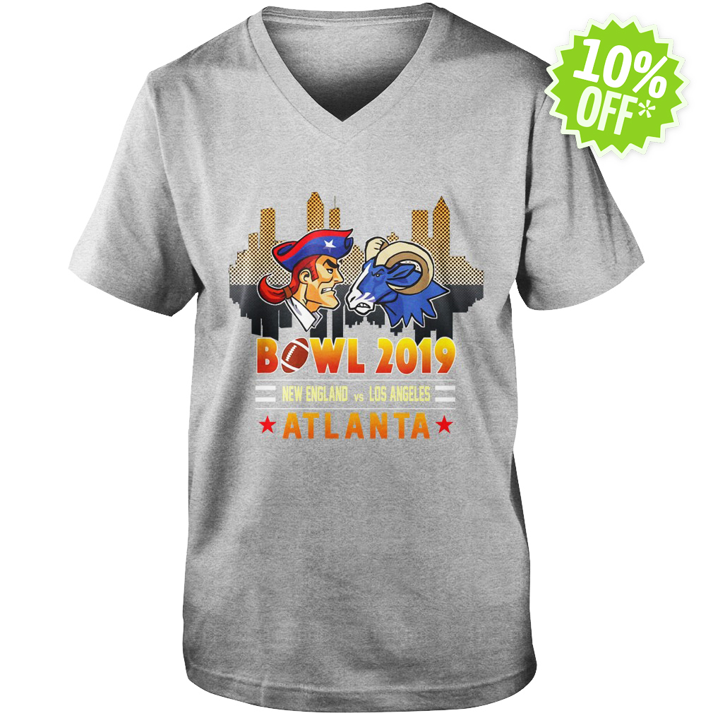 Bowl 2019 New England Patriots vs Los Angeles Rams in Atlanta v-neck
