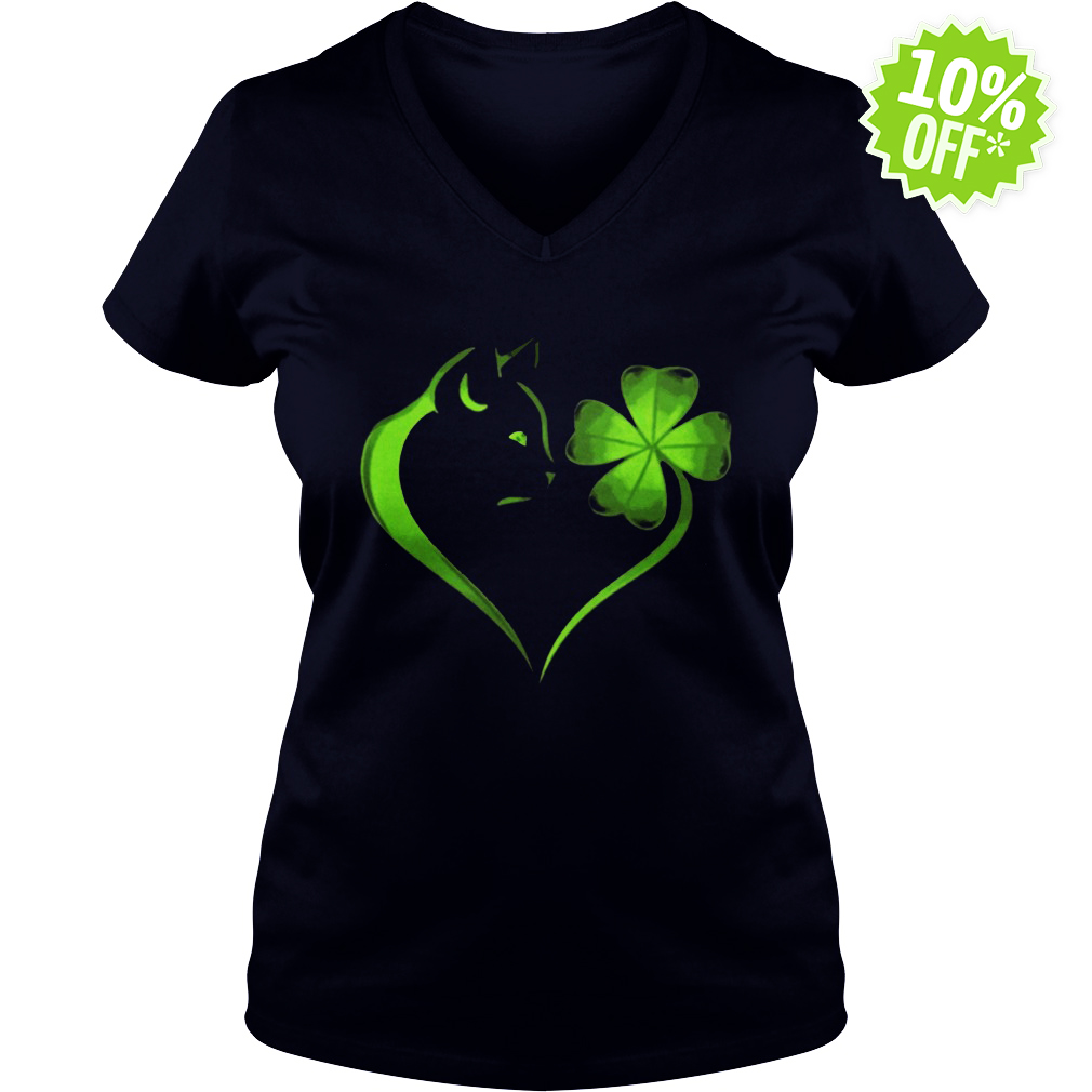 Cat Irish Four leaf clover heart v-neck