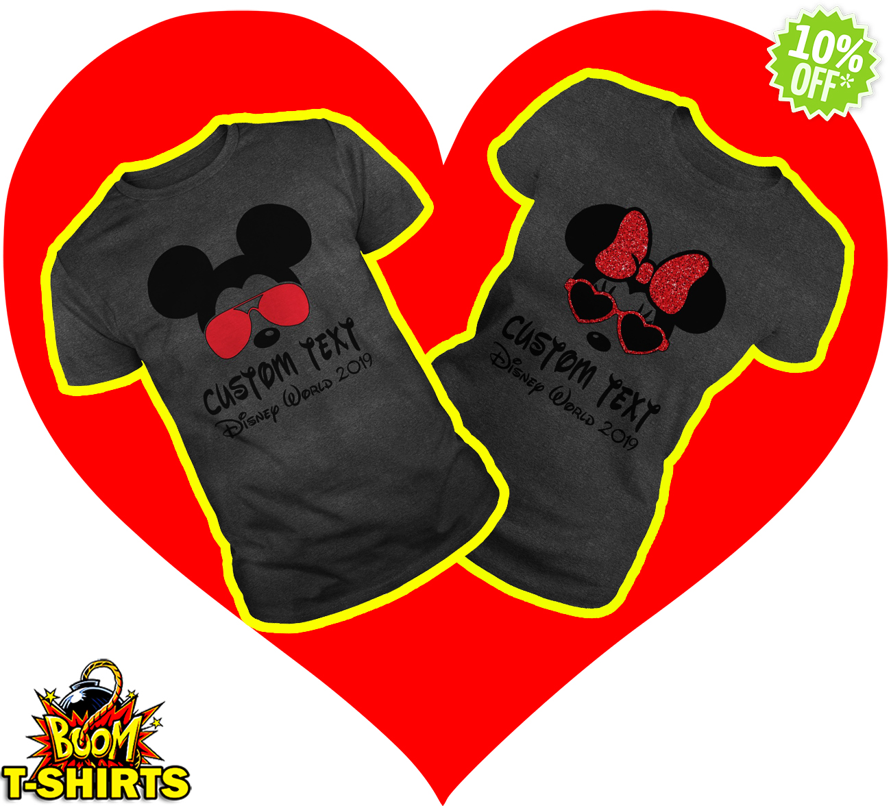 Custom text Disney World 2019 Mickey Minnie Couple Darkgrey shirt