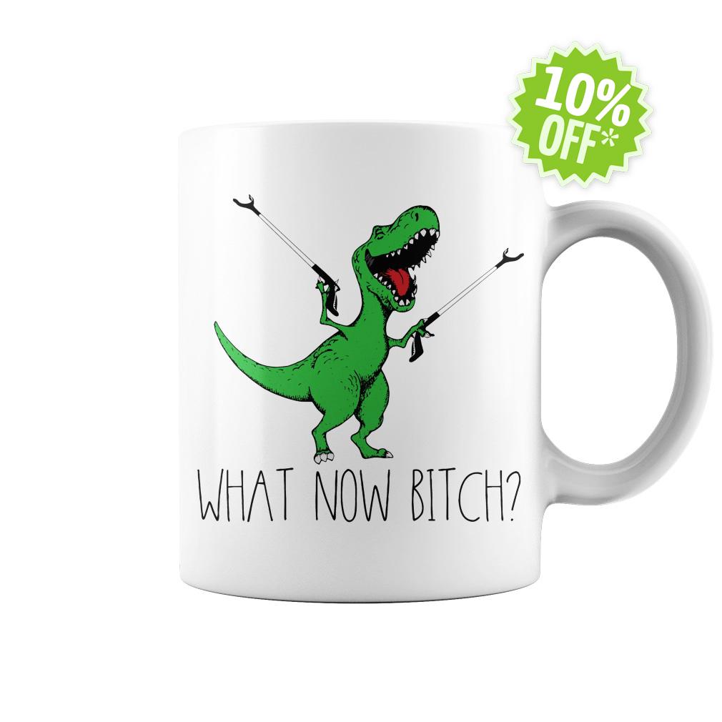 Dinosaurs T-Rex What now bitch white mug