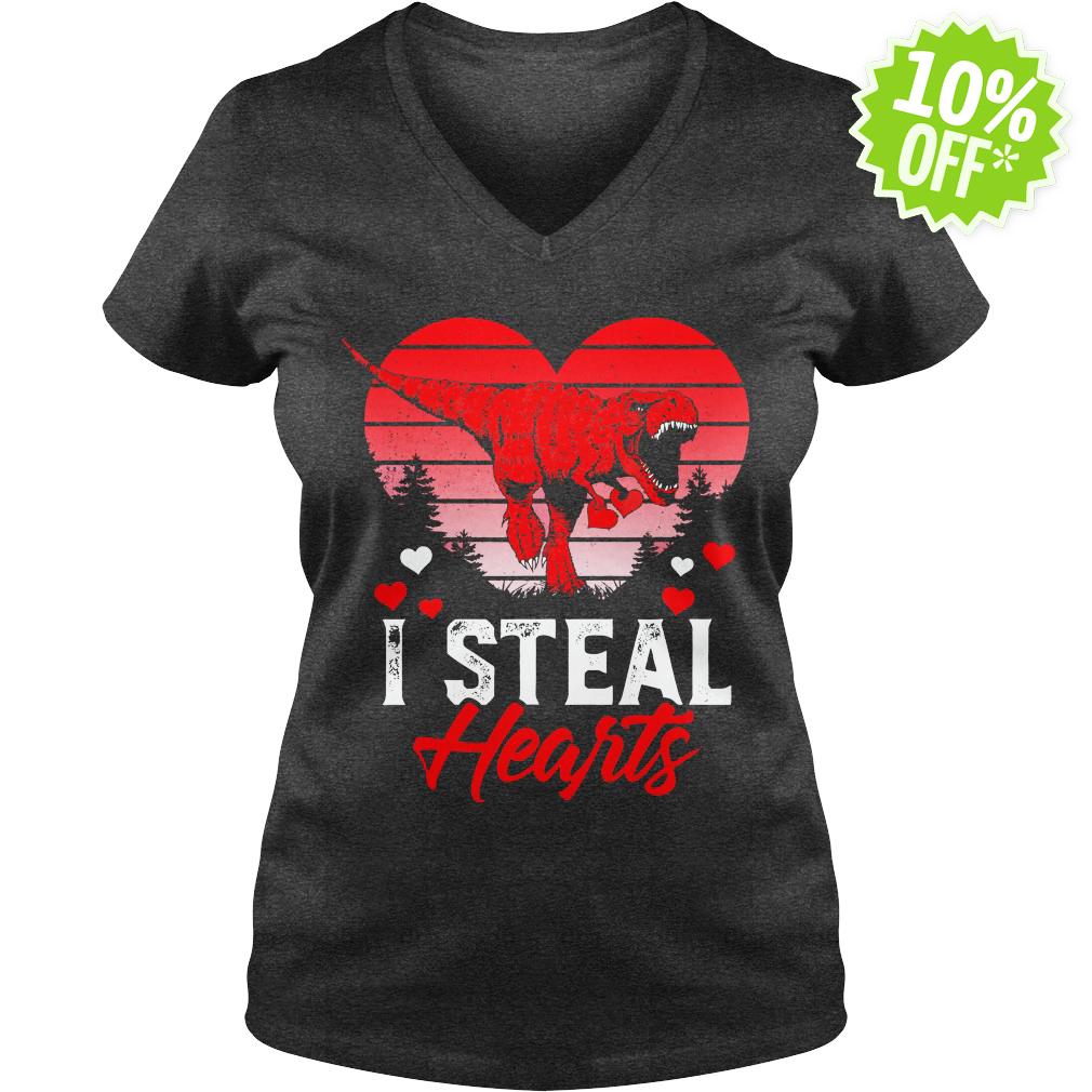 I Steal Hearts Dinosaur T Rex Valentines v-neck