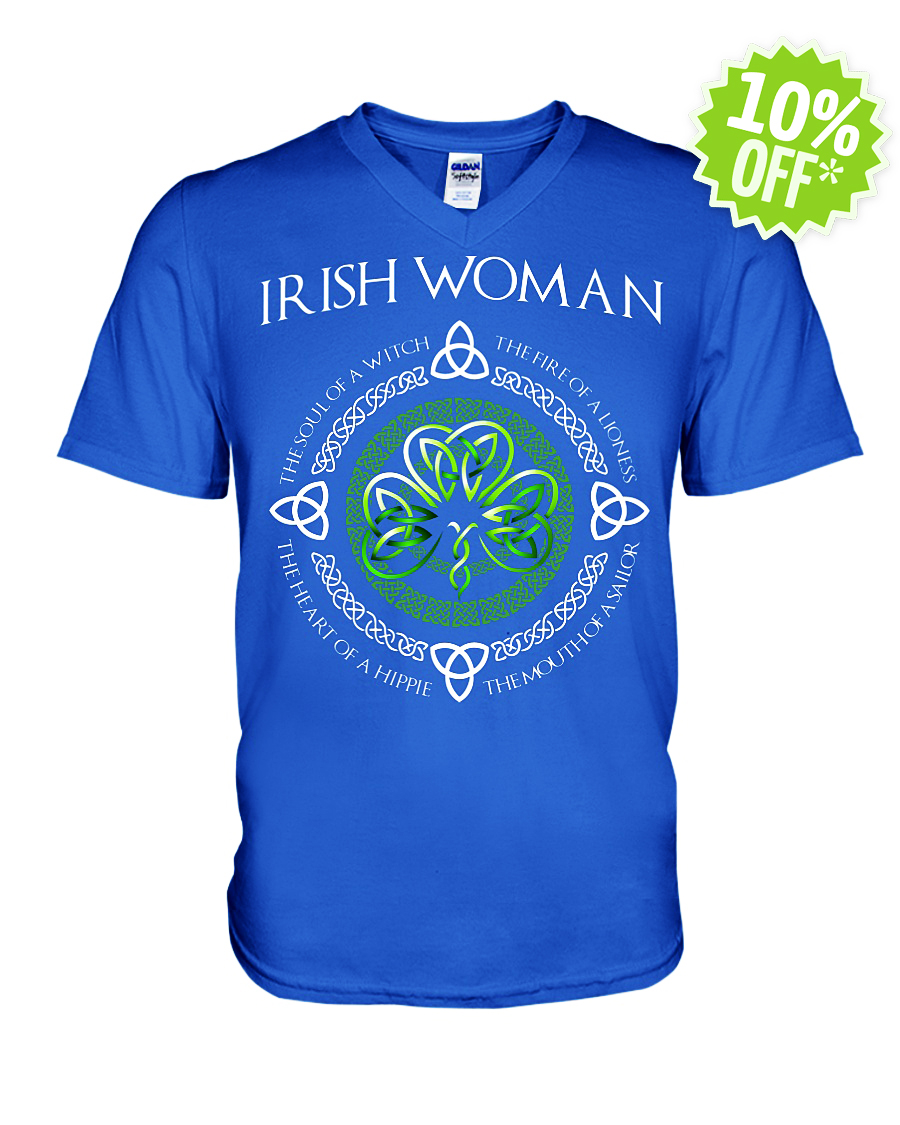 Irish Woman The Soul of A Witch The Fire of A Lioness v-neck