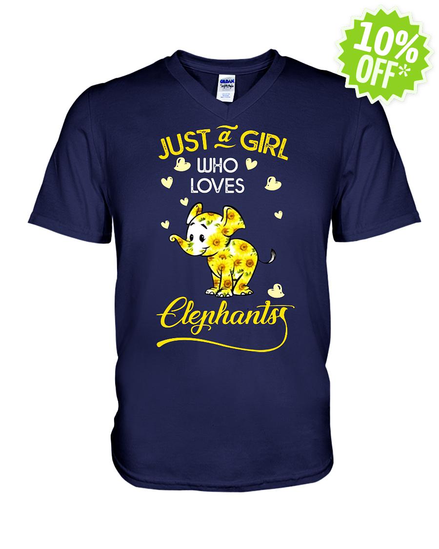 Just a girl who loves Elephants sunflower v-neck