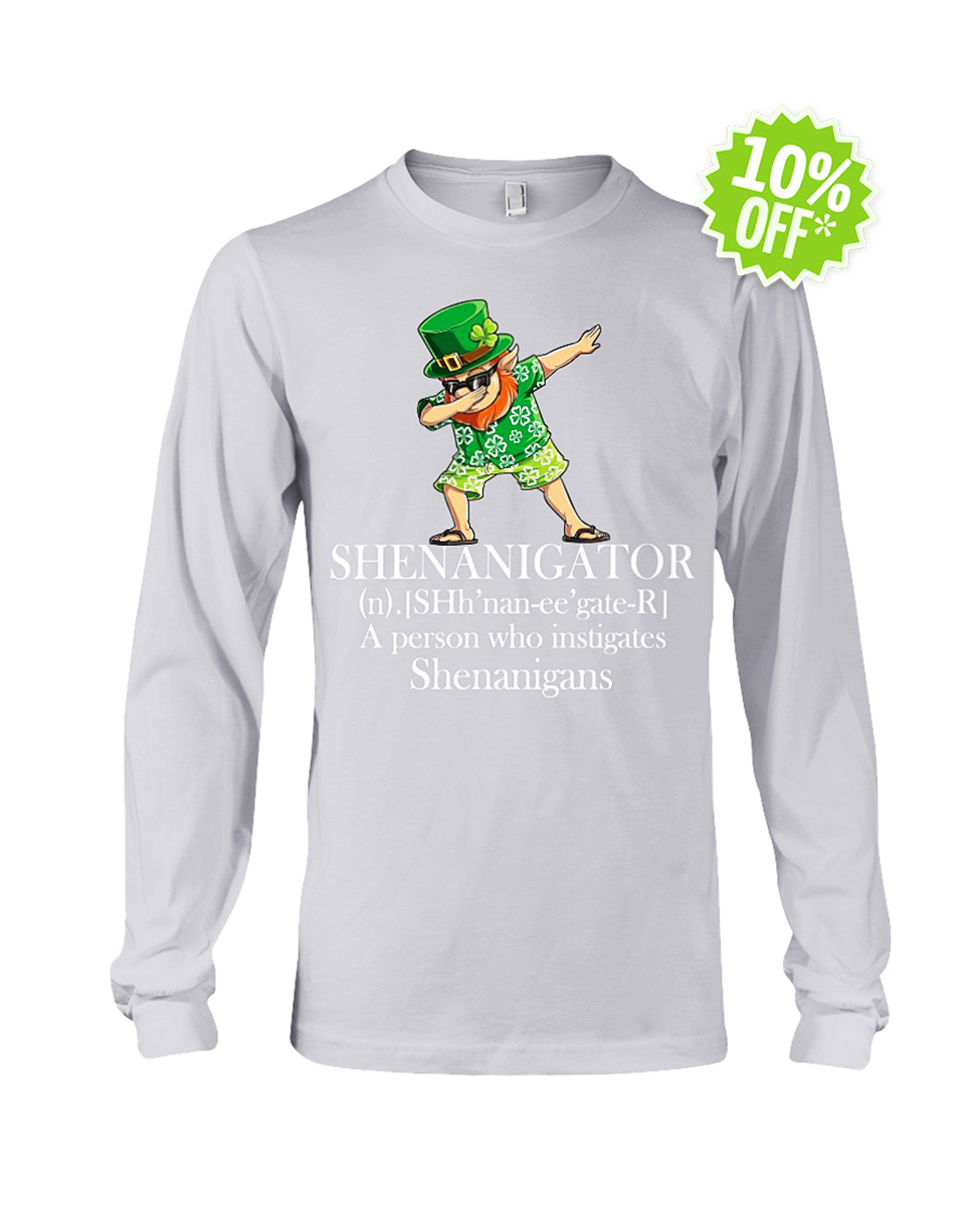 Leprechaun Hawaiian dabbing shenanigator a person who instigates shenanigans long sleeve tee