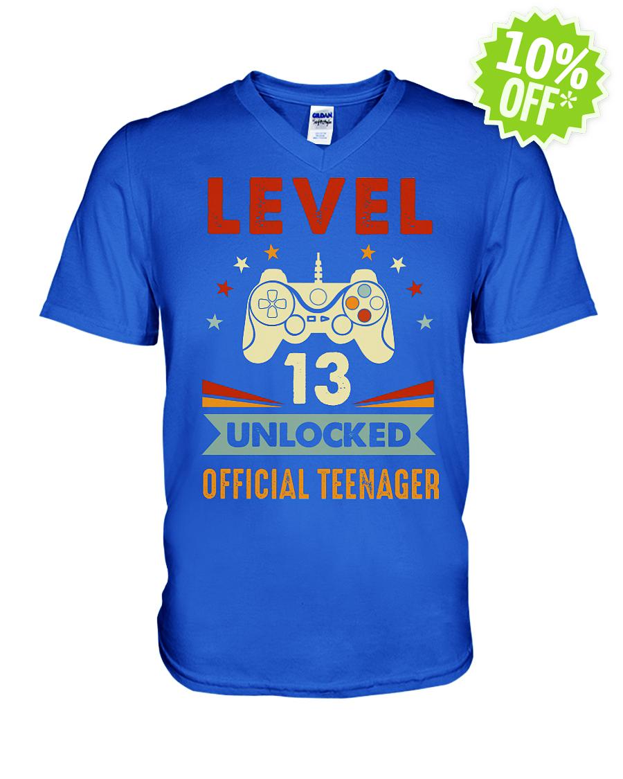 Level 13 Unlocked 13th Retro Vintage v-neck