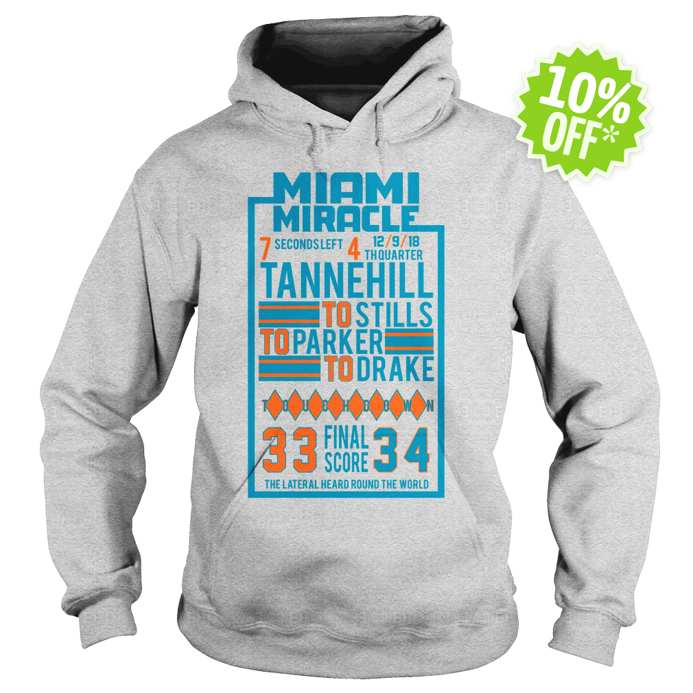 Miami Miracle Tannehill to Stills to Parker to Drake 33 Final Score 34 hoodie