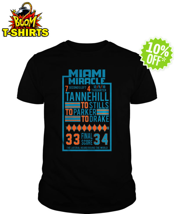 Miami Miracle Tannehill to Stills to Parker to Drake 33 Final Score 34 shirt