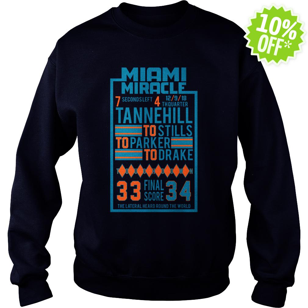 Miami Miracle Tannehill to Stills to Parker to Drake 33 Final Score 34 sweatshirt