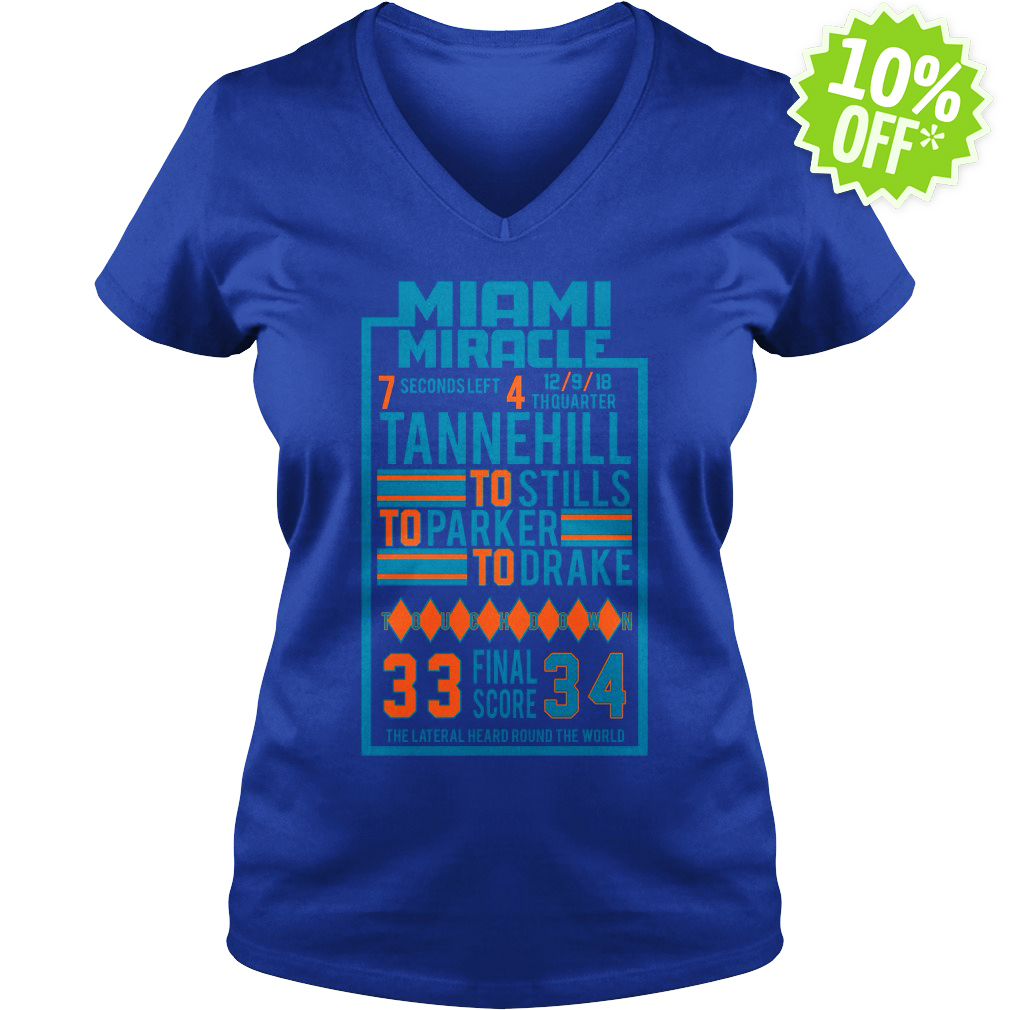 Miami Miracle Tannehill to Stills to Parker to Drake 33 Final Score 34 v-neck