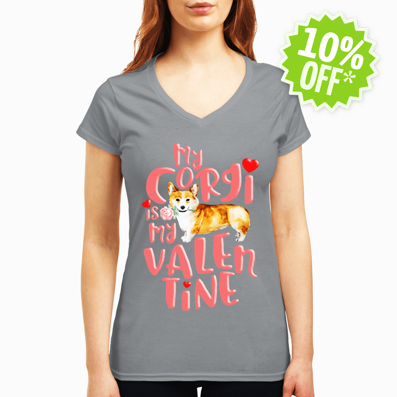 My Corgi Is My Valentine v-neck