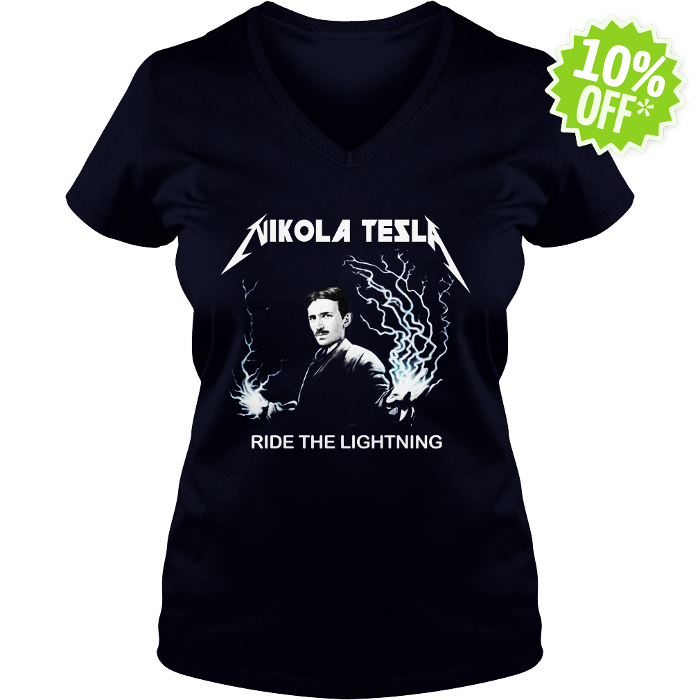 Nikola tesla ride the lightning v-neck