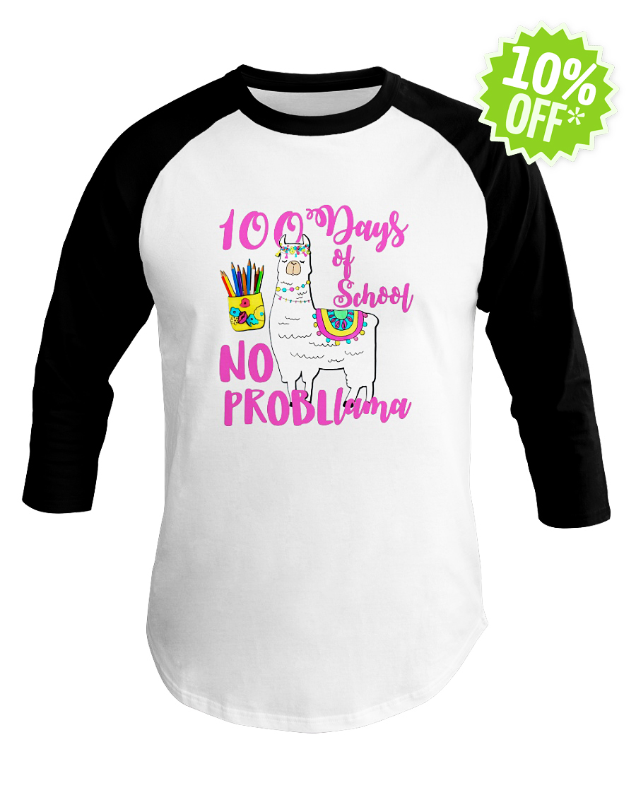 No Probllama 100 Days School LLama Teachers baseball tee