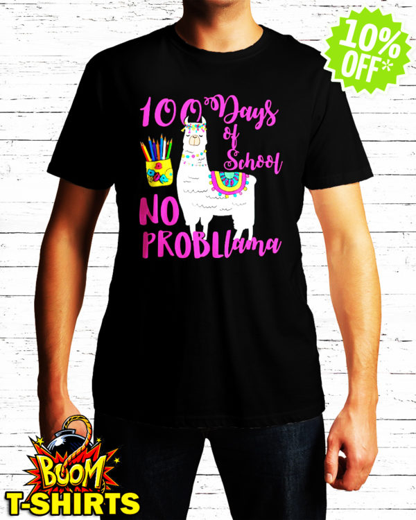 No Probllama 100 Days School LLama Teachers shirt