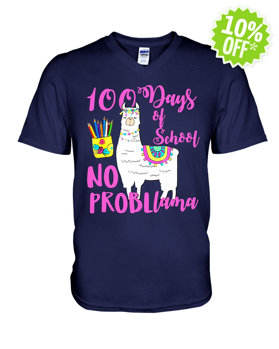 No Probllama 100 Days School LLama Teachers v-neck