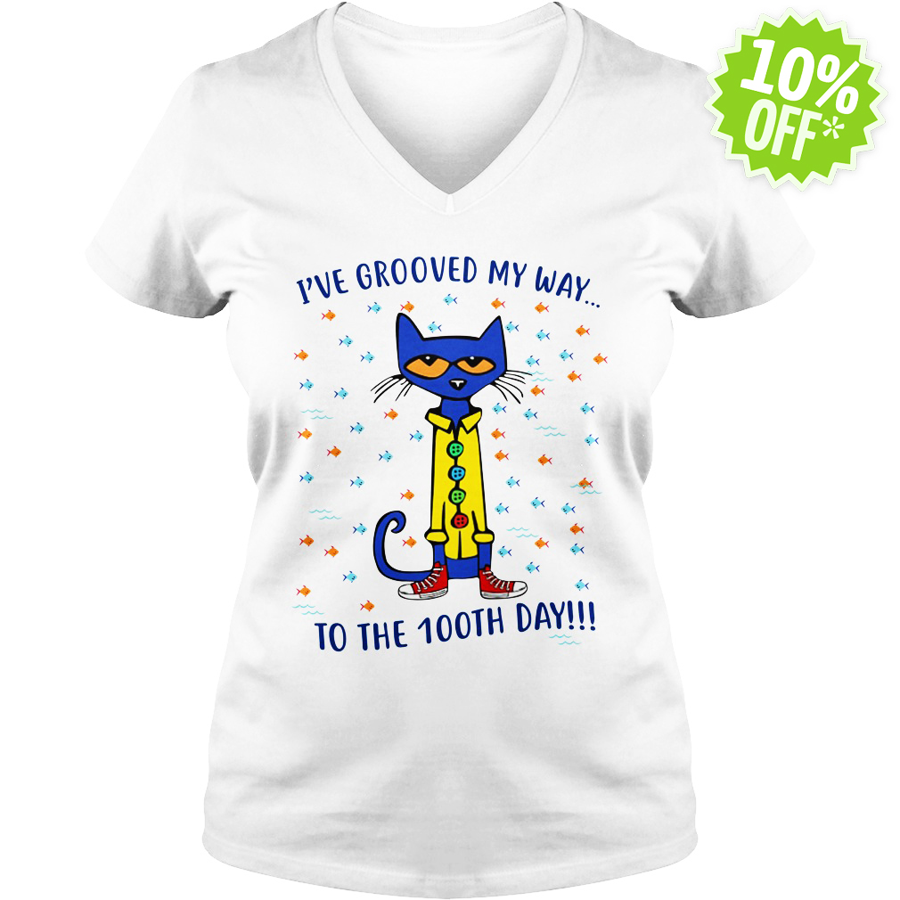 Pete the Cat I've grooved my way to the 100th day v-neck