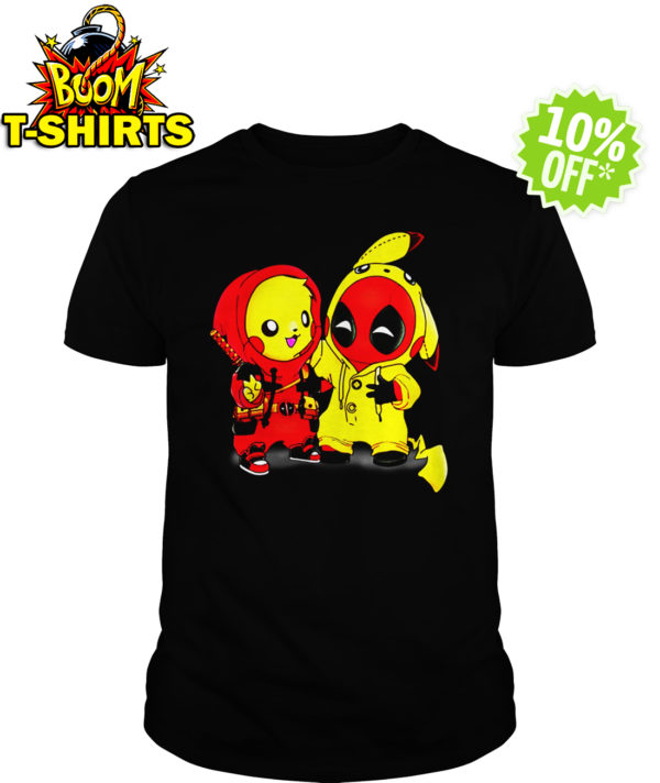 Pikapool Pikachu Pokemon and Deadpool shirt