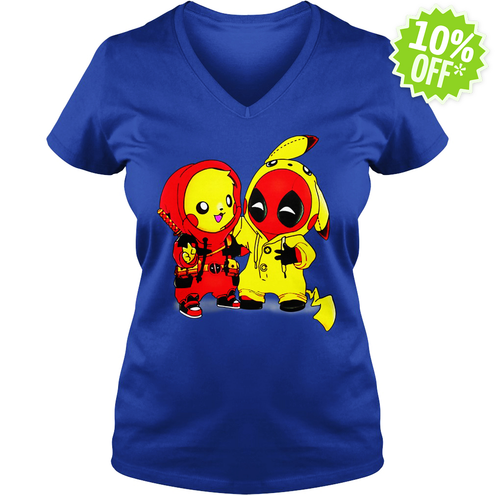 Pikapool Pikachu Pokemon and Deadpool v-neck