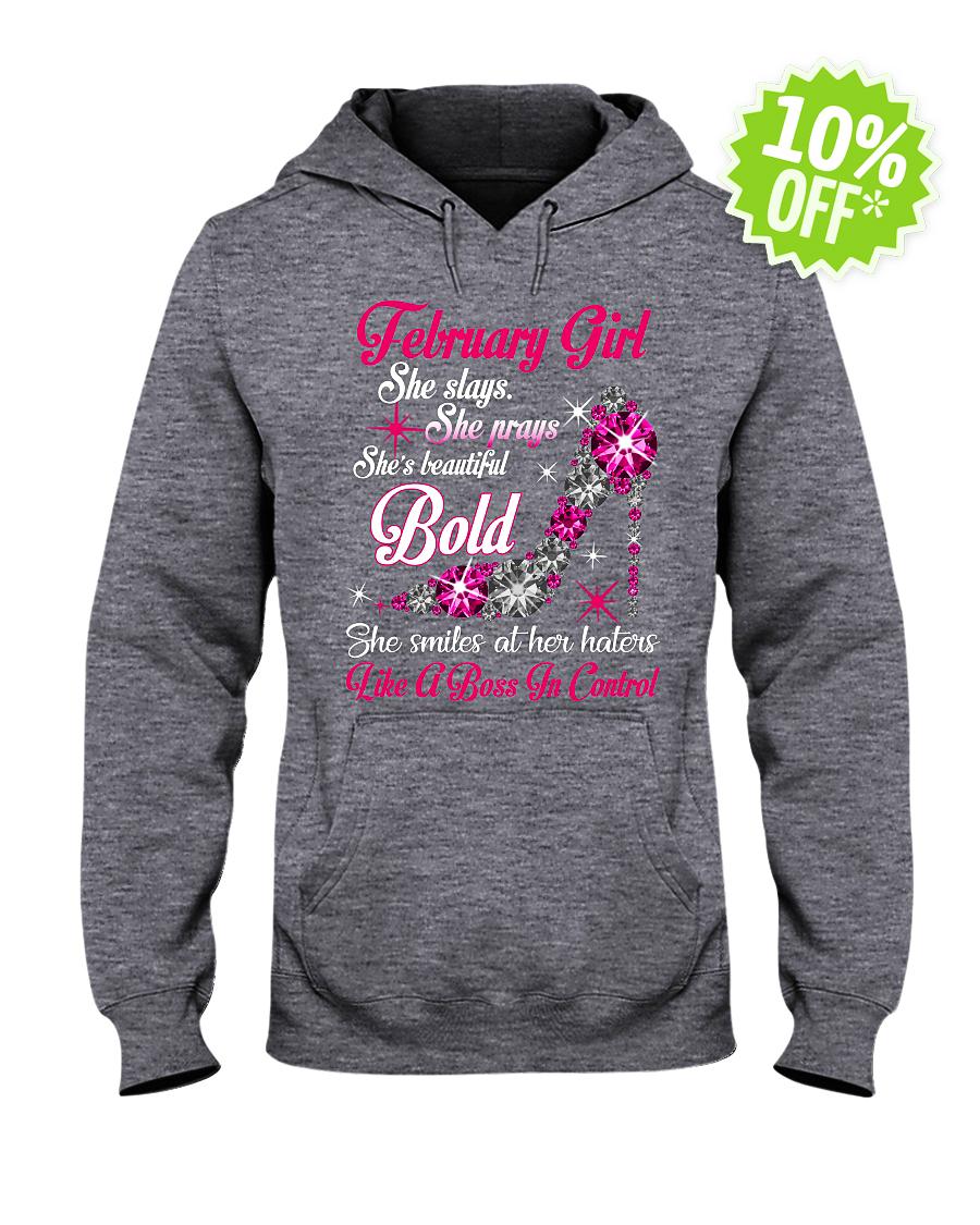 Rhinestone High Heels February Girl She slays She prays She's beautiful Bold hooded sweatshirt