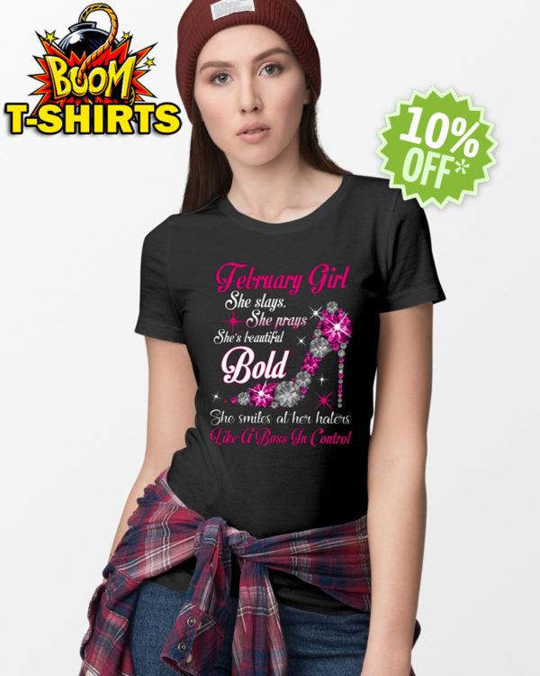 Rhinestone High Heels February Girl She slays She prays She's beautiful Bold shirt