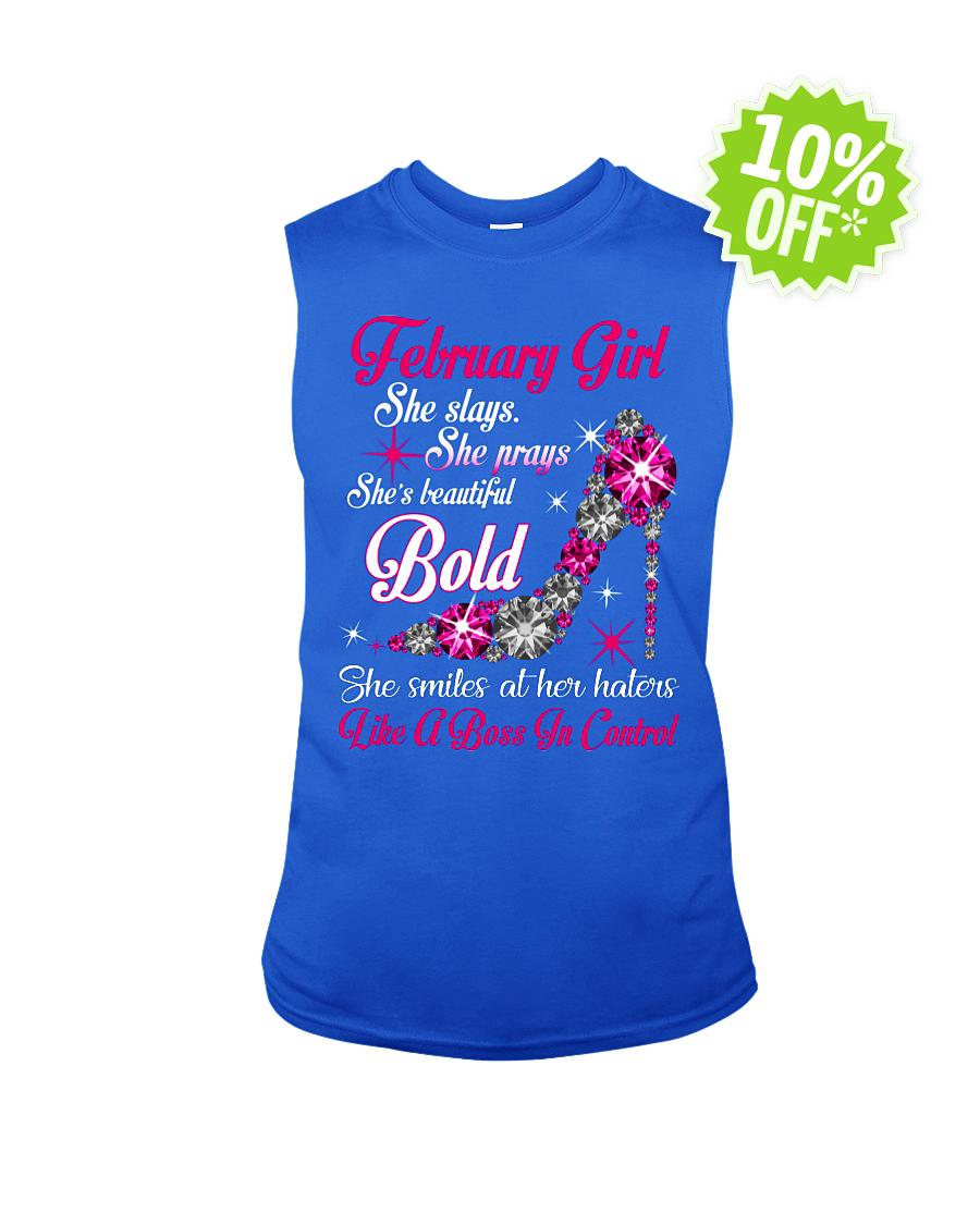 Rhinestone High Heels February Girl She slays She prays She's beautiful Bold sleeveless tee