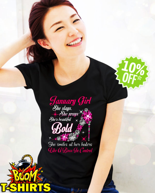 Rhinestone High Heels January Girl She slays She prays She's beautiful Bold shirt