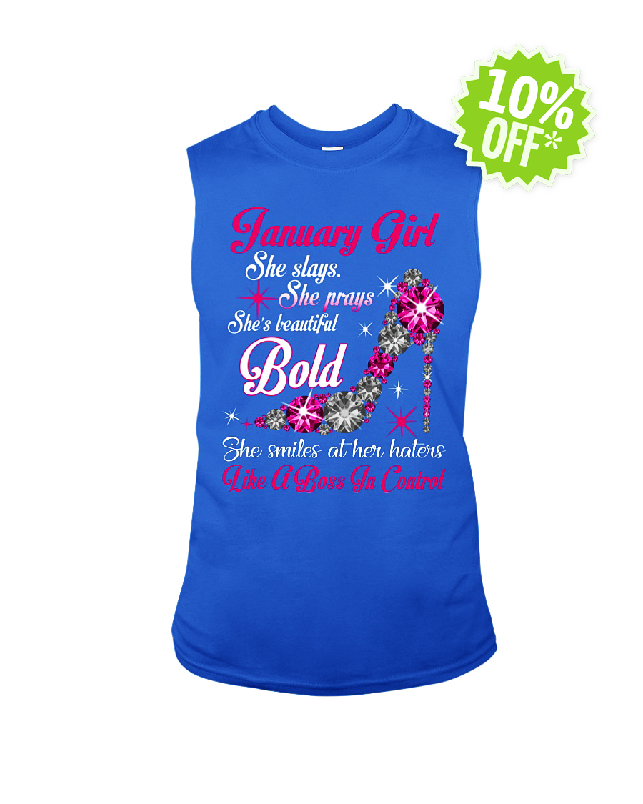 Rhinestone High Heels January Girl She slays She prays She's beautiful Bold sleeveless tee