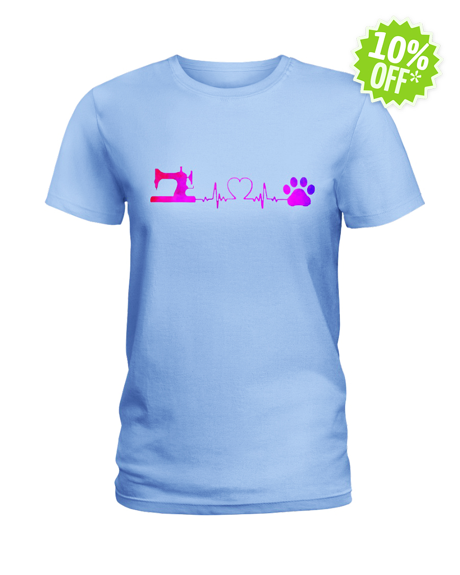 Sewing Machine and Dog Heartbeat lady shirt