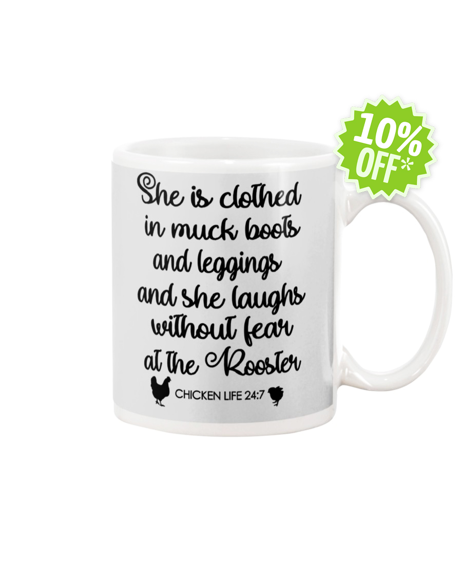 She is clothed in muck boots and leggings and she laughs without fear at the Rooster Chicken Life 24 7 ash mug