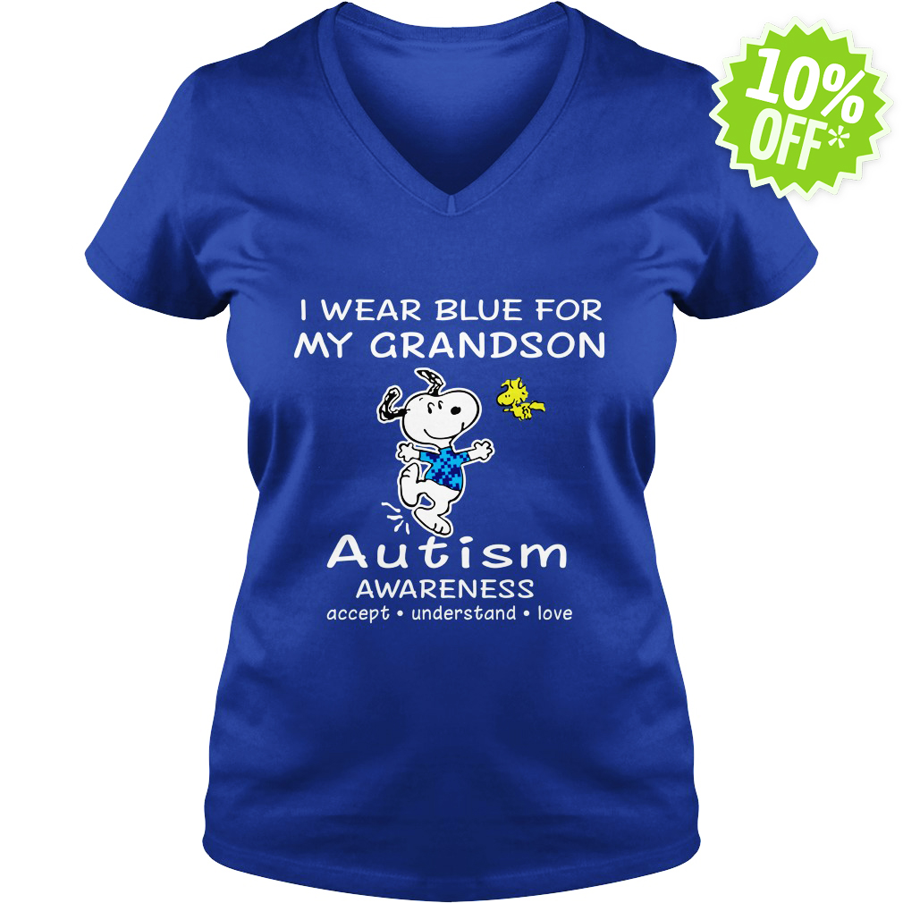 Snoopy and Woodstock I wear blue for my grandson autism awareness v-neck