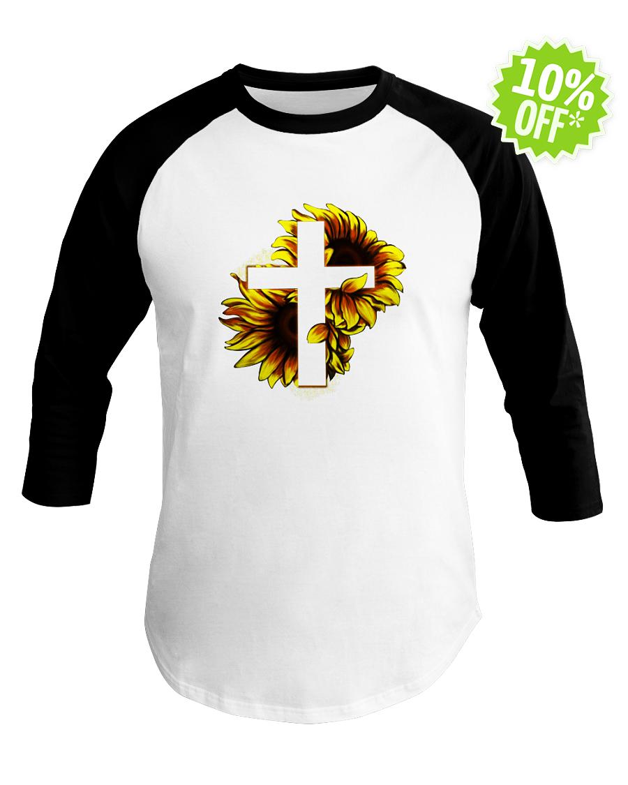 Sunflower Jesus Cross baseball tee