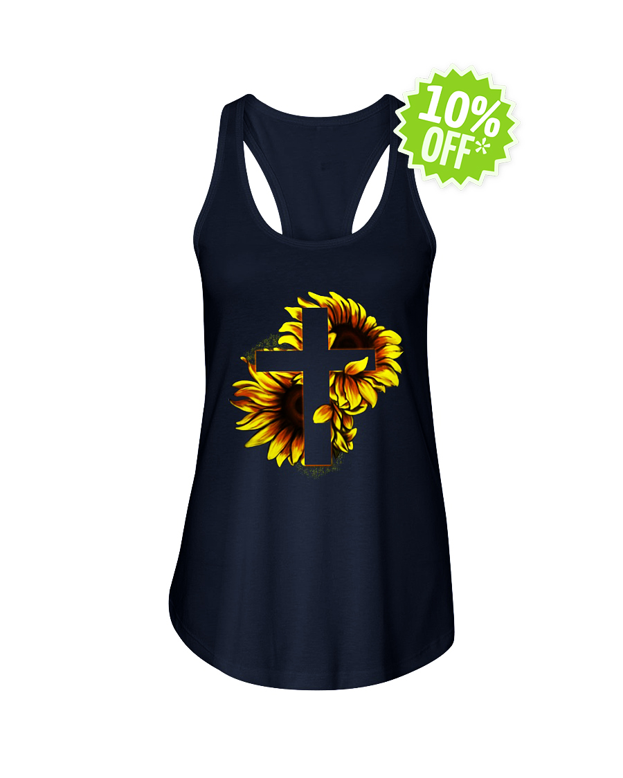 Sunflower Jesus Cross flowy tank