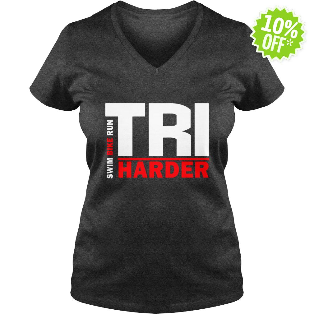 Swim Bike Run Tri Harder v-neck