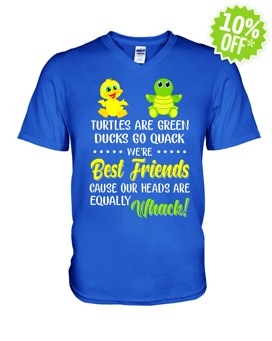 Turtles Are Green Ducks Go Quack We're Best Friends Cause Our Heads Are Equally Whack v-neck
