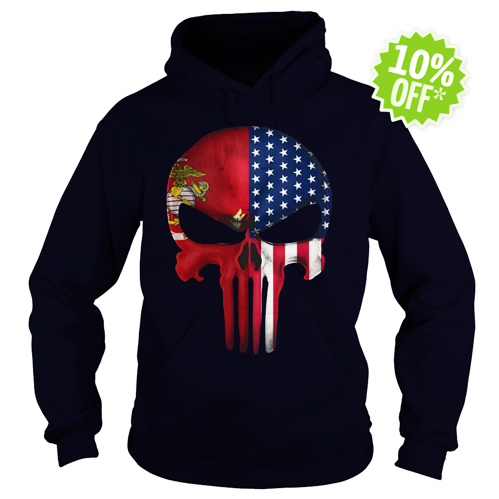 USA Flag American Skull Punisher Veteran Army Marine hoodie