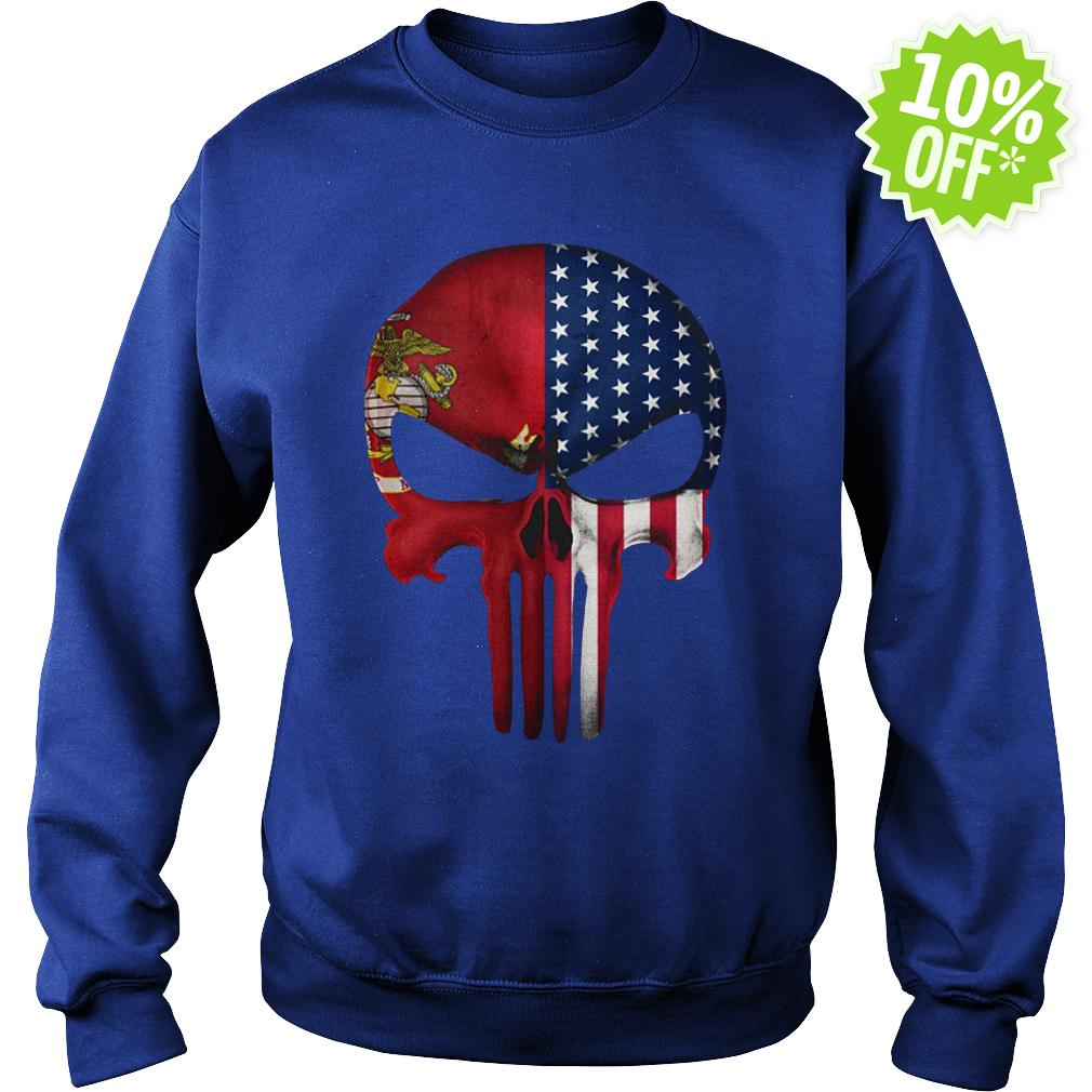 USA Flag American Skull Punisher Veteran Army Marine sweatshirt