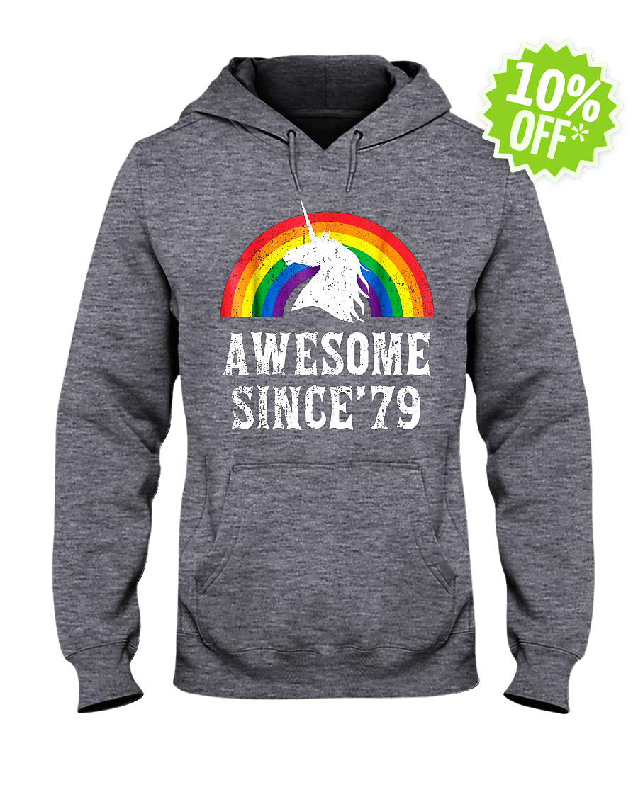 Unicorn 40th Birthday Rainbow Awesome since'79 hooded sweatshirt