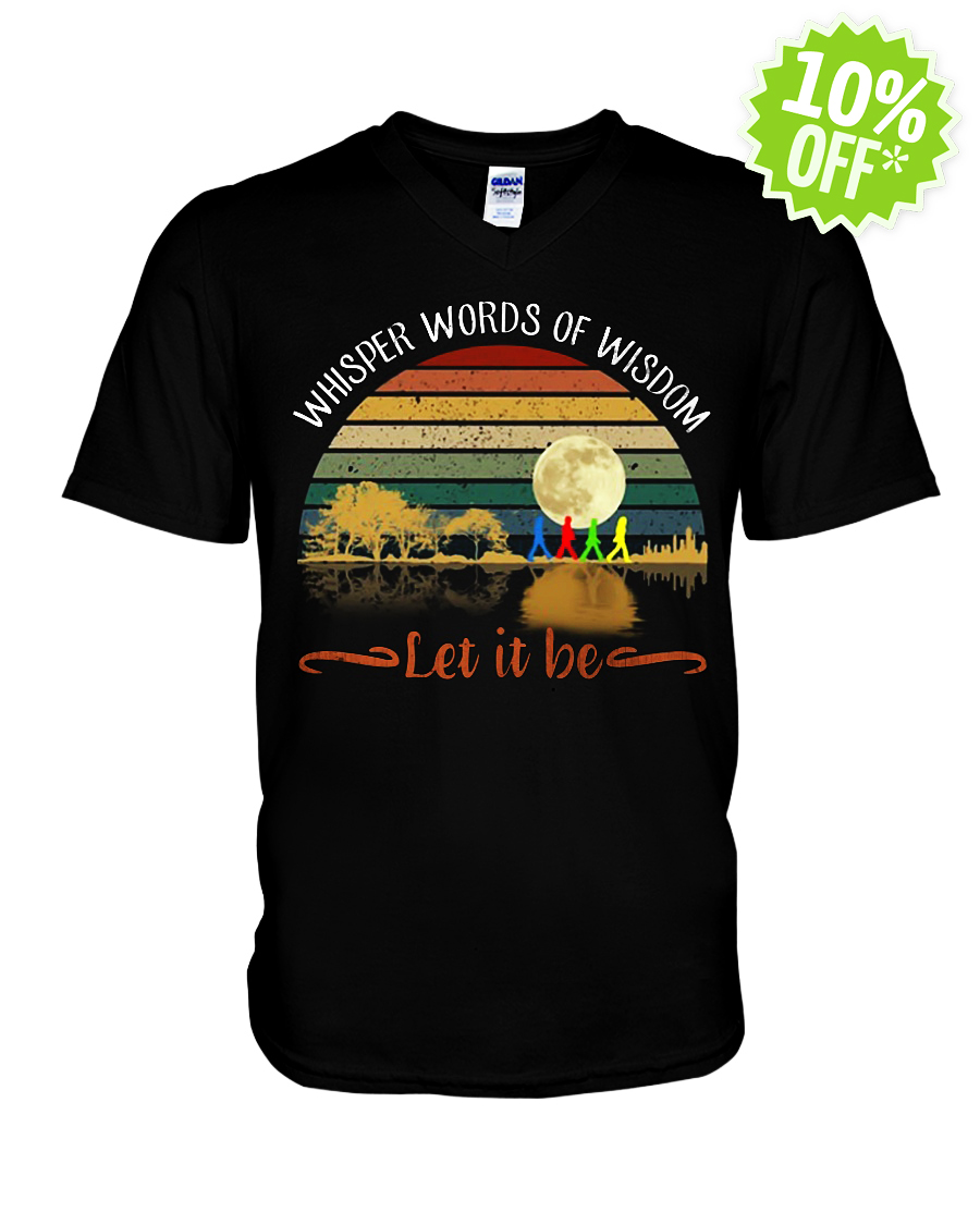 Whisper Words of Wisdom Let It Be Guitar Moon The Beatles Abbey Road v-neck