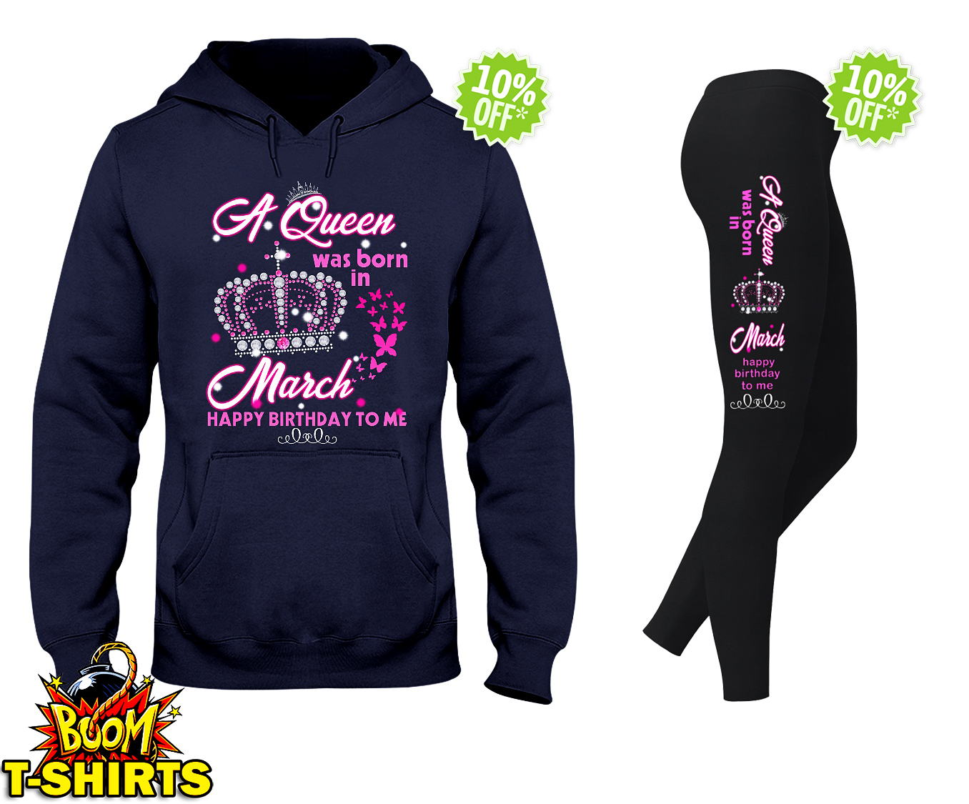 A queen was born in march happy birthday to me hooded sweatshirt