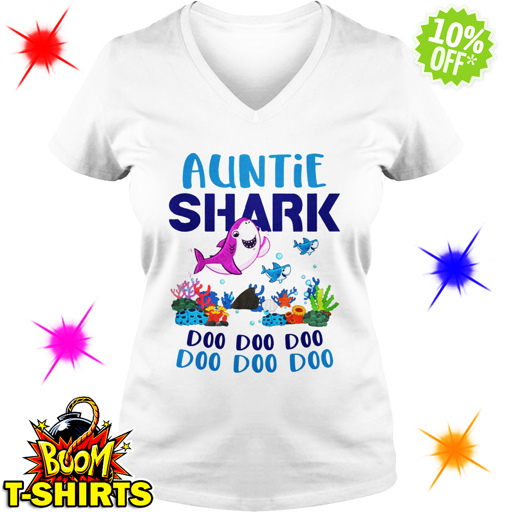 Auntie shark doo doo doo v-neck