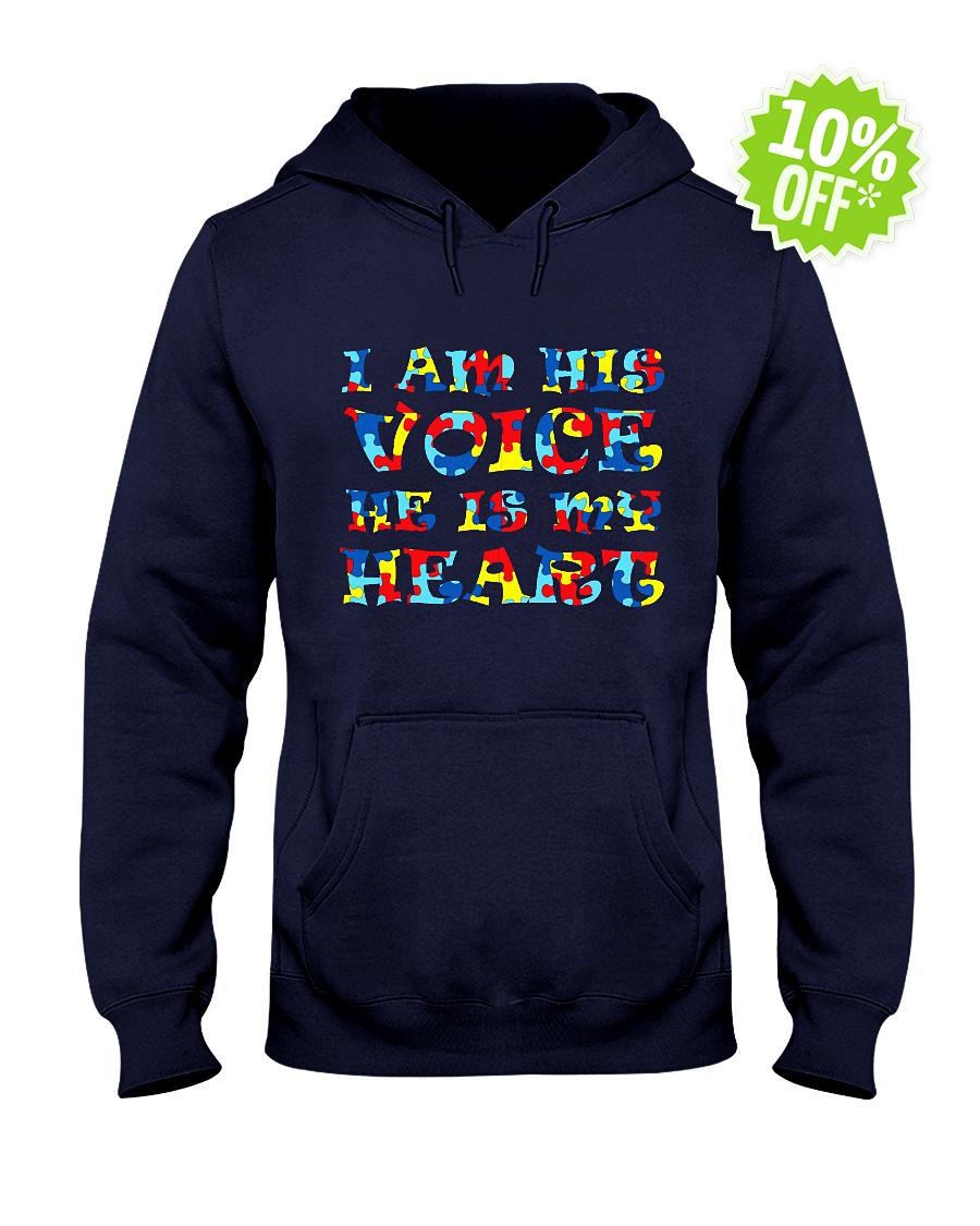 Autism I am his voice he is my heart hooded sweatshirt