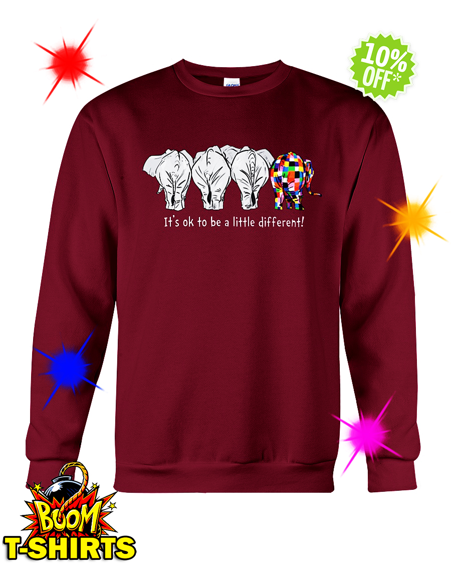 Autism elephant it's ok to be a little different sweatshirt