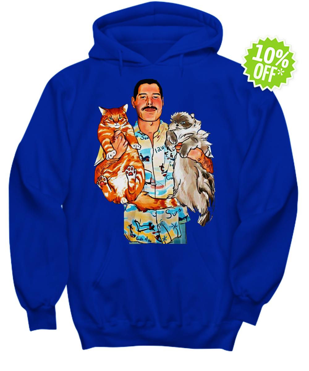 Freddie Mercury with Oscar and Tiffany cats hoodie