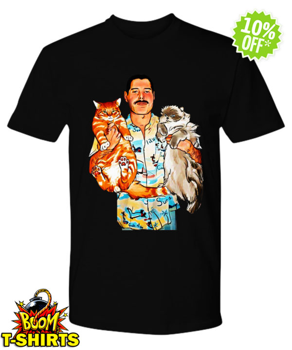 Freddie Mercury with Oscar and Tiffany cats shirt