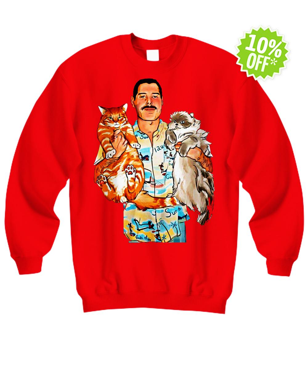 Freddie Mercury with Oscar and Tiffany cats sweatshirt
