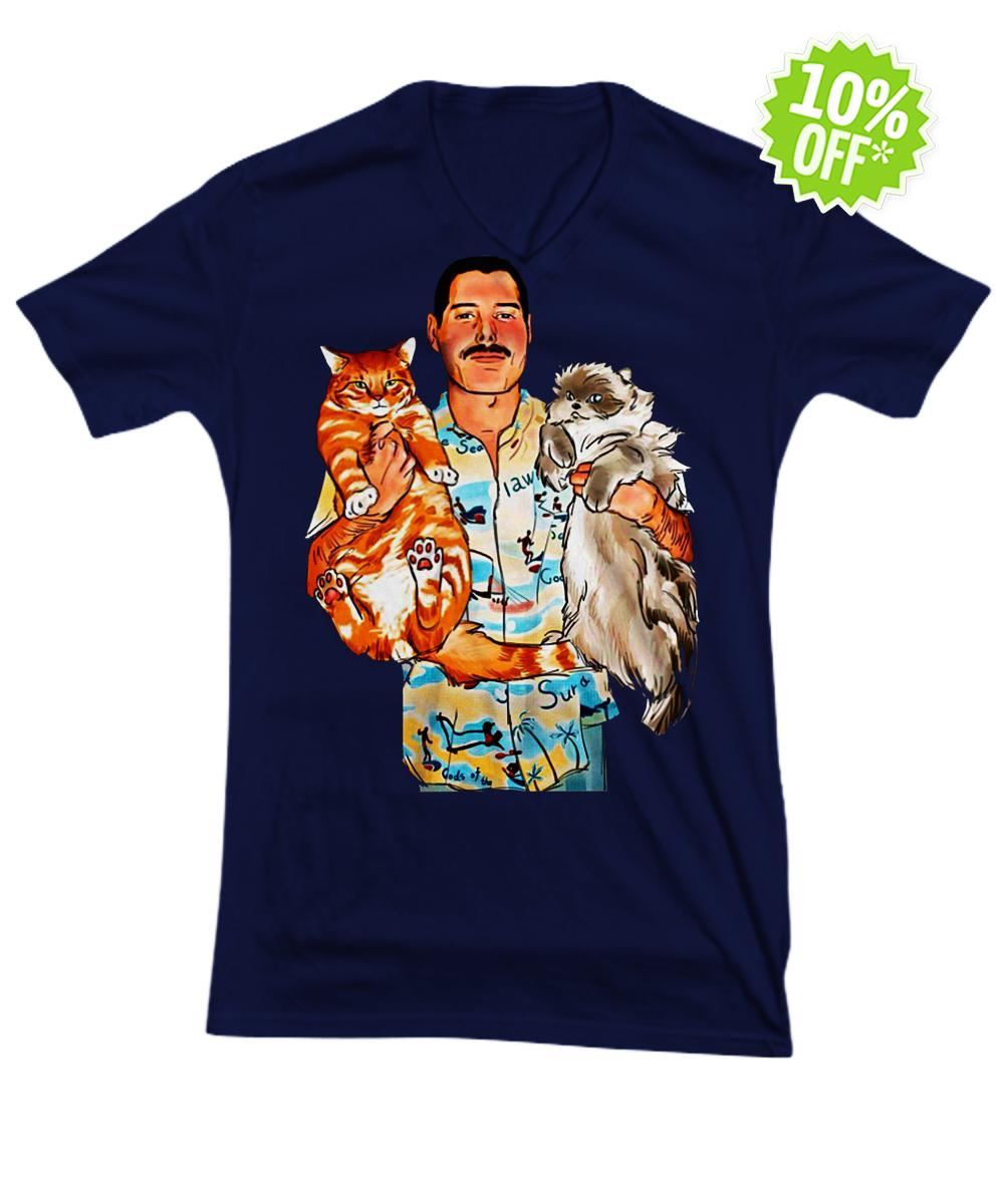 Freddie Mercury with Oscar and Tiffany cats v-neck