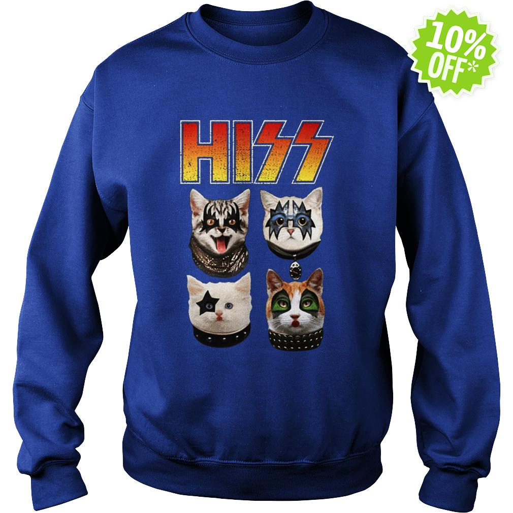 Hiss Kiss Cats Kittens Rock Funny sweatshirt
